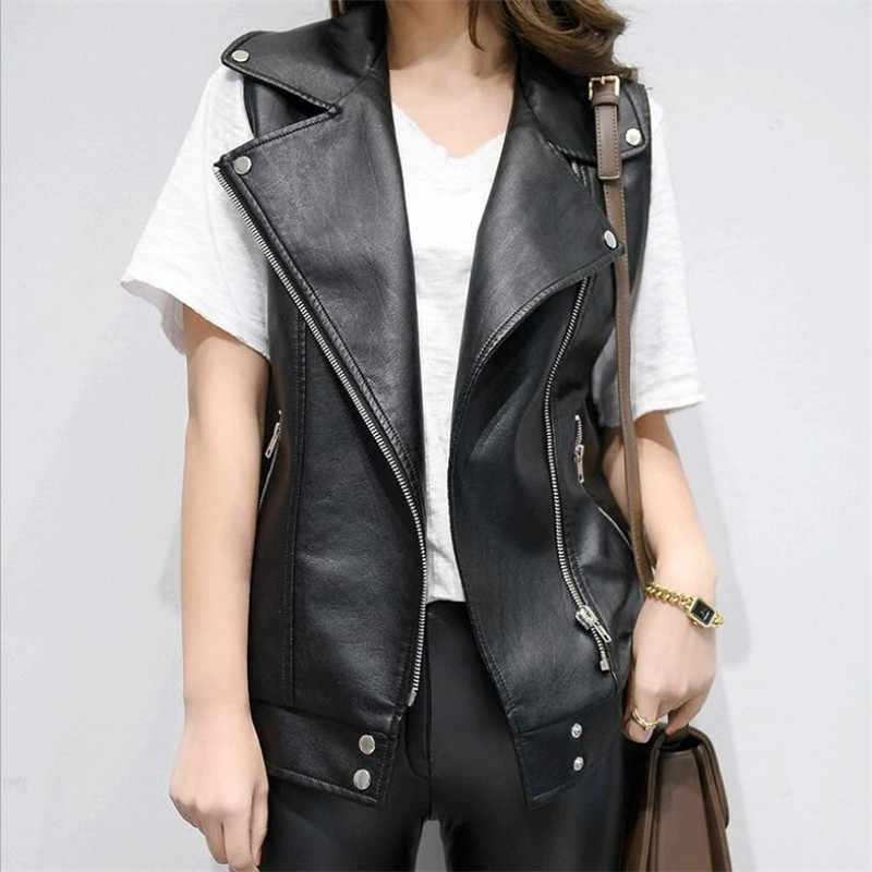 7ce37dd85b3e0 PU Leather Vests Women Slim Fit Casual Motorcycle Leather Vest Female 2019  New Fashion Sleeveless Vest