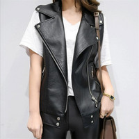 PU Leather Vests Women Slim Fit Casual Motorcycle Leather Vest Female 2019 New Fashion Sleeveless Vest For Women DS5050