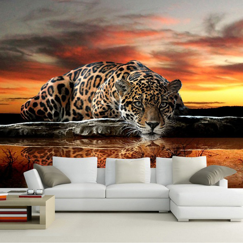 custom foto wand papier 3d stereoskopischen tier leopard. Black Bedroom Furniture Sets. Home Design Ideas