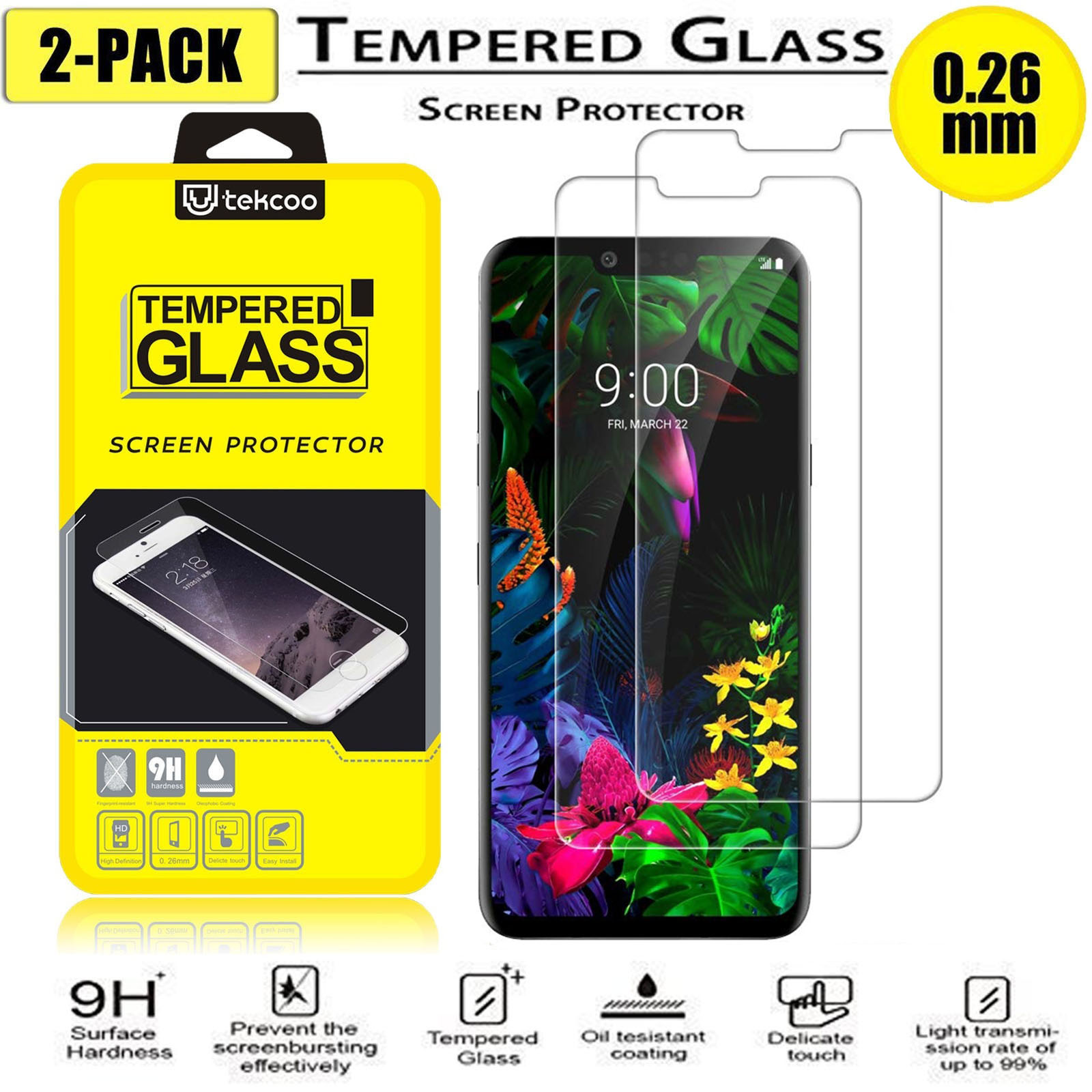 2 Pcs HD Tempered Glass Screen Protector For LG Aristo / Aristo 2 / Stylo 2 / 3 / 4 / K20 Plus /Zone 4 / K40 / K30 / G8 / 7 / 6