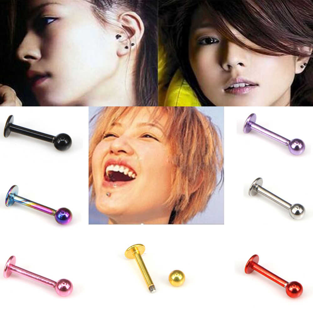 316L Surgical Steel Titanium Anodized Labret Lip Stud Ring Ear Tragus Stud Body Piercing Jewelry