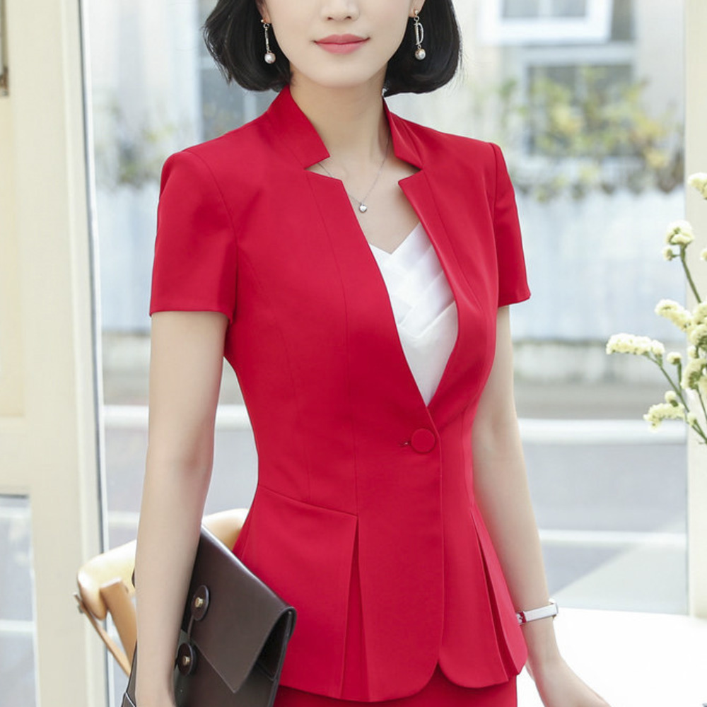 OL Classic Short Sleeve Suit Jaqueta Feminina Jacket Blazer Feminino Office Uniform Style Designs Women Womens Formal Suits