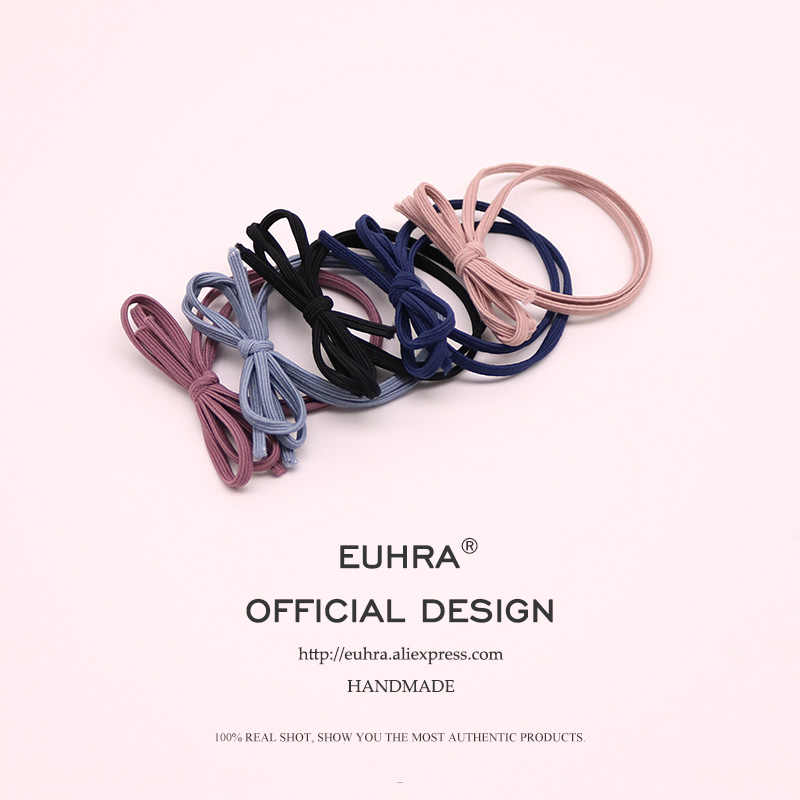 EUHRA 5 Colors Elastic Hair Bands Headbands Basic Bow Tie High Elasticity Women Girls Hairband Children Hair Accessories Rubber