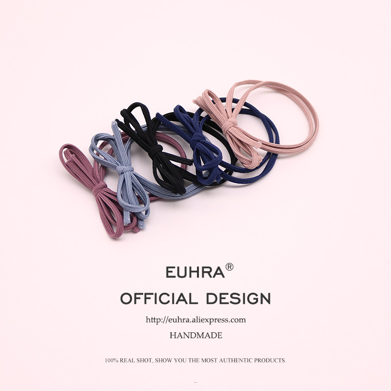 EUHRA 5 Colors Elastic Hair Bands Headbands Basic Bow Tie High Elasticity Women Girls Hairband Children Hair Accessories Rubber