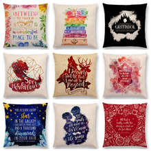 Magical Animals Horned Serpent Reading Books Love Dream Decorative Letters Fantasy Throw Pillow Case