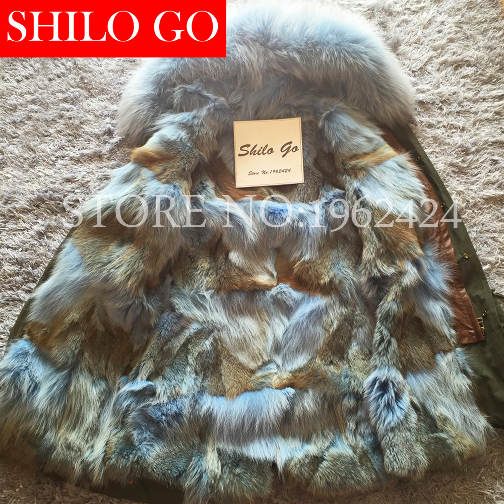 Women Winter Army Green & Black Thick Parkas Plus Size Real Raccoon Canada Blue Wolf Fur Collar Hooded Out Wear Coat