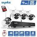 New Upgrated SANNCE 4CH Security Wireless NVR Kit P2P 720P HD Outdoor IR Night Vision IP Camera WIFI CCTV System diy 1TB HDD