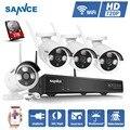 Nova Upgrated SANNCE P2P 4CH NVR Kit de Segurança Sem Fio 720 P HD ao ar livre da Visão Nocturna do IR Câmera IP WIFI CCTV Sistema de diy 1 TB HDD