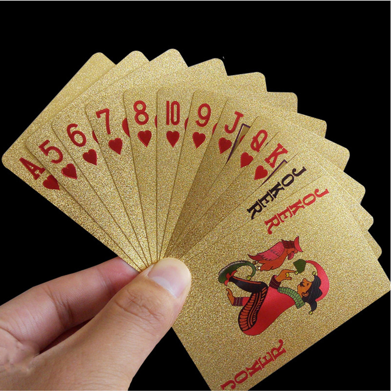 24K Gold Foil Plastic Playing Cards Poker Game Deck Gold Foil Poker Set Magic Card Waterproof Cards Magic