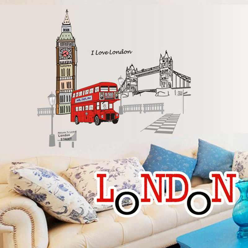Londyn Piętrowy autobus Naklejki ścienne Naklejki Wymienny Creative - Wystrój domu - Zdjęcie 4