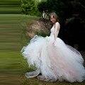 Recentes adulto longo Tutu saias 2016 marfim com uma pitada rosa até o chão Tulle saias com faixas de cetim da dama de honra saias