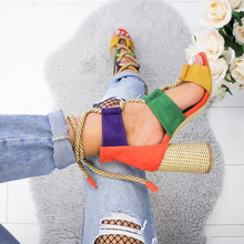 купить New Women Sandals Shoes Fashion Flock Lace-Up Mixed Colors Shallow Round Heels 7cm Thick High Heel Female Pumps Shoes Plus Size дешево