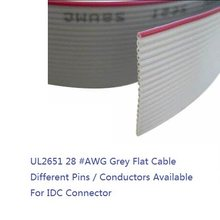 "5 m 1.27mm Grey Flat Ribbon Cable 8 Pin 9 10 12 14 16 20 24 26 30 40 50 60 64 Cores AWG 28 UL2651 300V for 0.10"" IDC Connector(Hong Kong,China)"