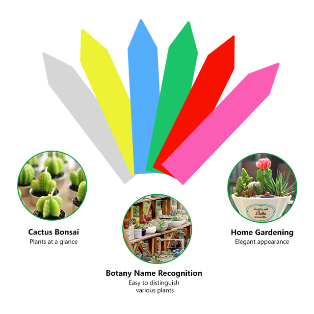 50pcs/lot Plastic Plant Labels Mark T-type Plant Flower Tag Garden Ornaments Gardening Label Nursery Flower Tag 6 Color Reusable