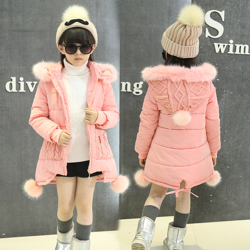 OLEKID 2018 New 5-14 Years Children Winter Outerwear Coat Hooded Thick Warm Long Jacket For Girl Brand Teenage Girl Parka olekid 2017 new cartoon rabbit winter girls parka thick warm hooded children outerwear 5 14 years teenage girls sweater coat