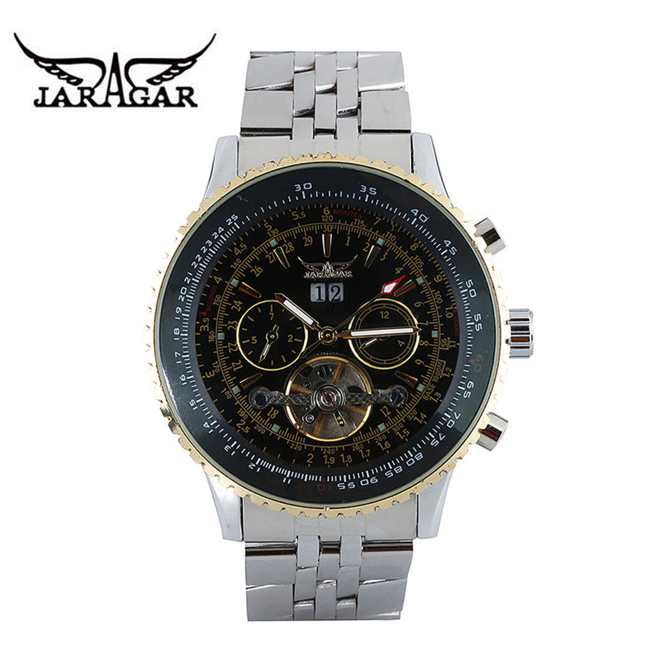 JARAGAR Automatic Mechanical Watches Men Military Sport Wristwatch Top Brand Mens Luxury Watch Tourbillon Day Week Month Display jaragar top brand tourbillon automatic mechanical diamond dial clock wtaches men classic luxury business leather wristwatch uhr