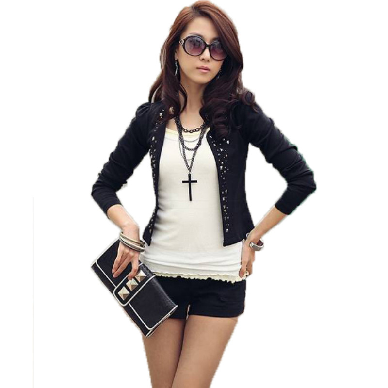 Mr.Nut Fashion OL Commuter Rivet Jacket Hot Drilling Small Suit Short Jacket Female  Solid  Hidden Breasted  Woman Clothes