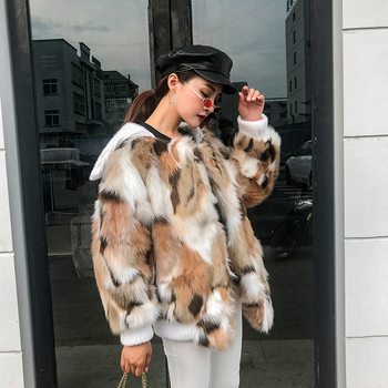 Winter 2018 coat female Turn-down Collar loose Faux fox fur Faux Fur Loose fashion short Faux Fur woman Casual overcoat Faux Fur фото
