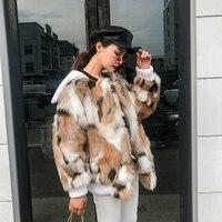 winter 2018 coat female Turn down Collar loose Faux fox fur Faux Fur Loose fashion short Faux Fur woman Casual overcoat Faux Fur