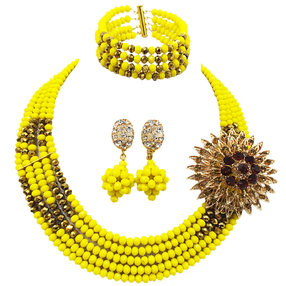 Fashion Opaque Yellow Multi Strands Nigerian Wedding Necklace Costume African Beads Jewelry Set for Women 5L-YH10Fashion Opaque Yellow Multi Strands Nigerian Wedding Necklace Costume African Beads Jewelry Set for Women 5L-YH10