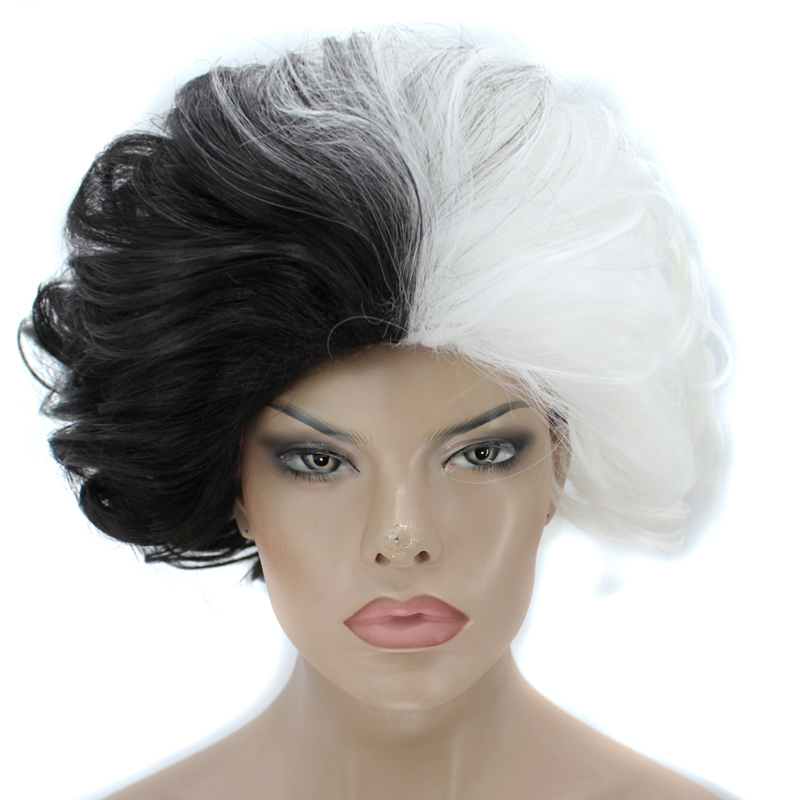 Hair Cap+Cruella Deville Half Black And White Short Body Wave Fluffy Synthetic Cosplay Wig For Halloween headpiece