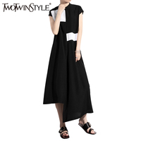 TWOTWINSTYLE 2017 Black Chiffon Summer Dress Long Midi Beach Dresses Female Patchwork Asymmetrical Casual Clothes Large Big Size