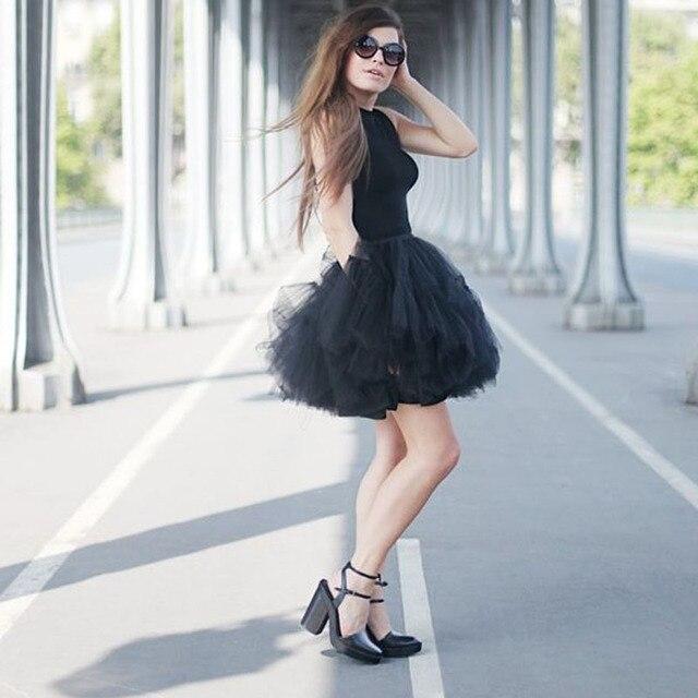 Chic Moda Mini Puffy Tulle Saias Mulheres Curto Vestidos de Baile Plissado Borgonha Verde Escuro Preto Tutu Saia Roupas Femininas