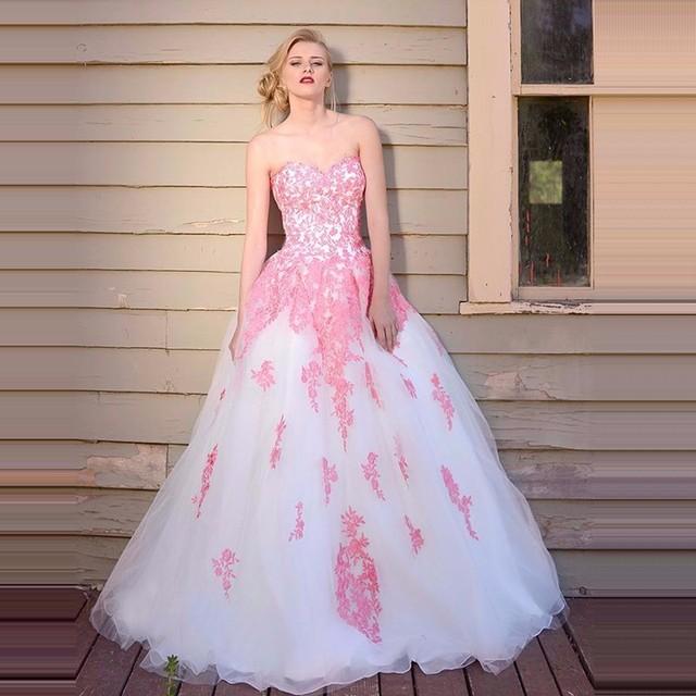 Vestido de gala largo de Baile Vestidos con Apliques de Color Rosa ...