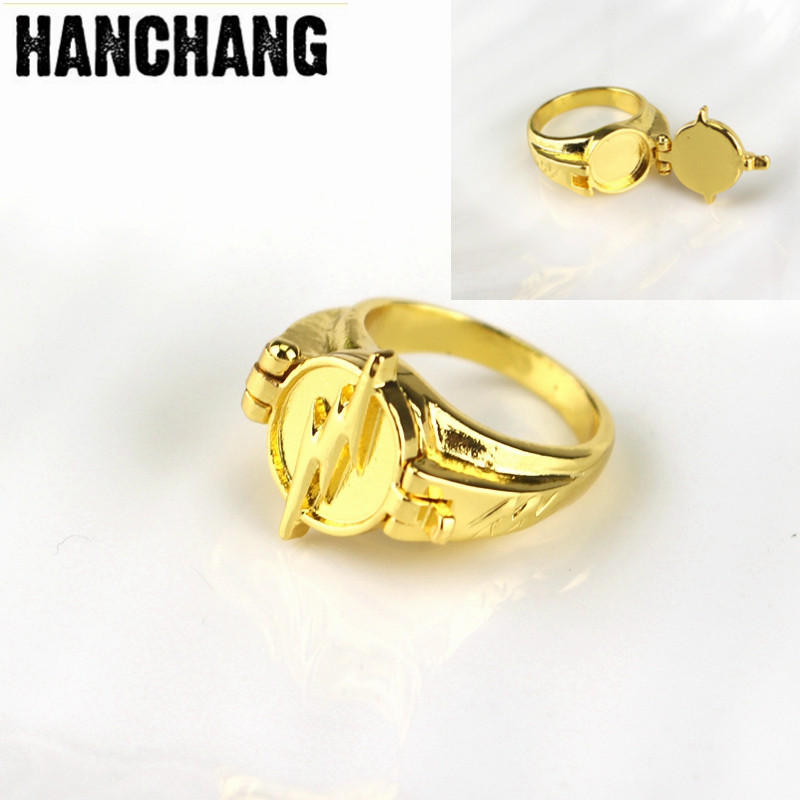 The Flash Superhero Ring with Gold Color Flash Lighting Logo Ring DC Movie Comic Ring Men And Women Jewelry image