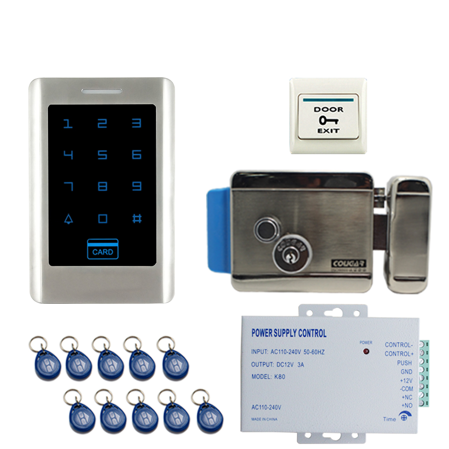 JERUAN FREE SHIPPING Home New DIY Touch Keypad Metal RFID Door Entry Access Control Kit + Electric Control Lock+ power In stock cloudray ii vi znse focal meniscus lens laser engraving cutting machine optical lens dia 20mm fl 50 8mm 263 5mm 2 5101 6mm 4
