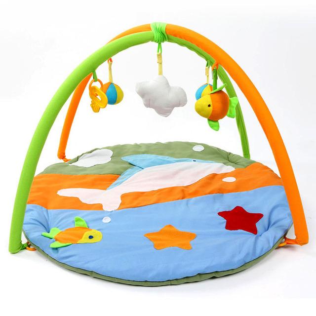 Venda quente Fun Golfinho Dos Desenhos Animados Tapetes de Jogo Do Bebê de Algodão Macio Crawling Pad Crianças Brincam Ginásio Atividade Brinquedo Do Bebê Brinquedo educativo cobertor