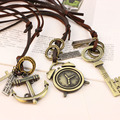 Novidade Atraente Étnico Vintage Bronze Vários Estilos de Couro de Cadeia Longa Colares para Mulheres Meninas Presente Jóias