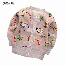 Новинка года; Детские свитера; осенне-зимний вязаный кардиган; теплая детская одежда из плотного бархата; свитер для мальчиков и девочек; Повседневная Верхняя одежда