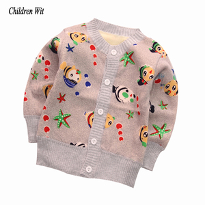 2019 New Baby Sweaters Autumn Winter Knitted Cardigan Plus Thick Velvet Warm Kids Clothes Boys Girls Sweater Casual Outerwear(China)