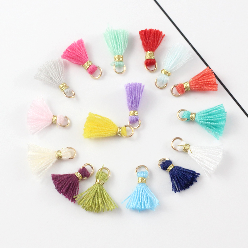 30PCS 1CM Small Cotton Tassels Pendants For Jewelry making Diy Bracelet /Cellphone /pendant Finding 3 1cm huge