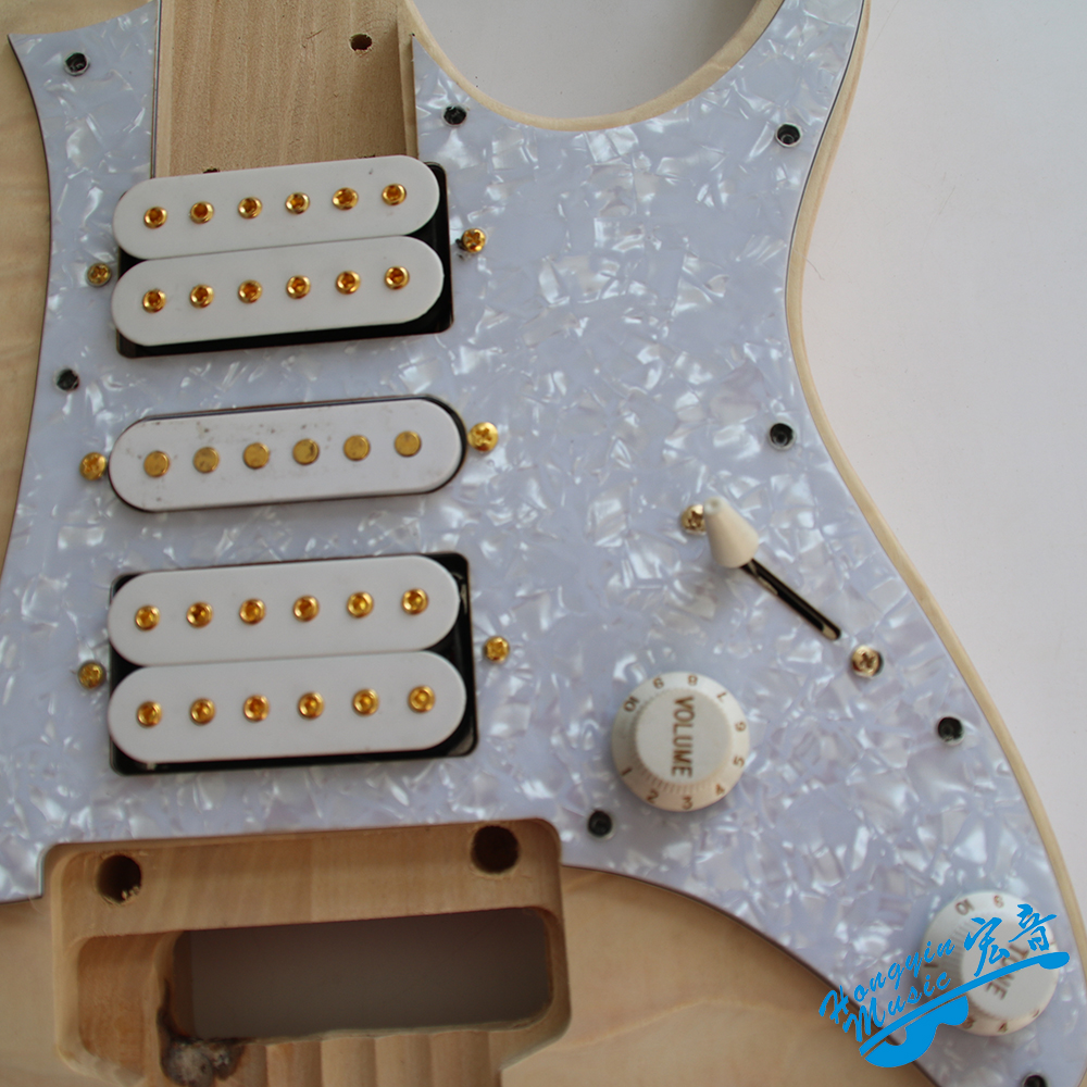 7V Stil Wasser Wellen Holz Elektrische Gitarre DIY Kit Set Linde Korpus Palisander Griffbrett Durable Maple Neck Gitarre Zubehör - 3