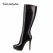Fashion Women Black Round Toe  Knee High Boots High Heel Boots Ladies Platform Autumn Winter Keep Warm Shoes Big Size Wholesael