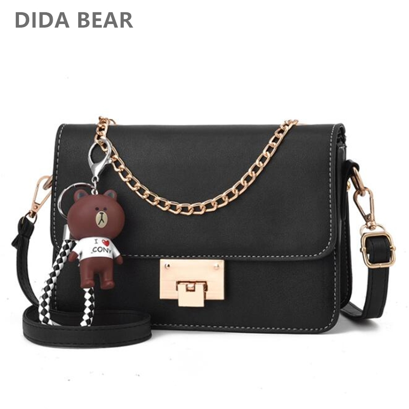 DIDA BEAR New Fashion Women Small Leather Shoulder bags Girls Crossbody Messenger bag Lady Handbag and Purse Femme Sac A Epaule