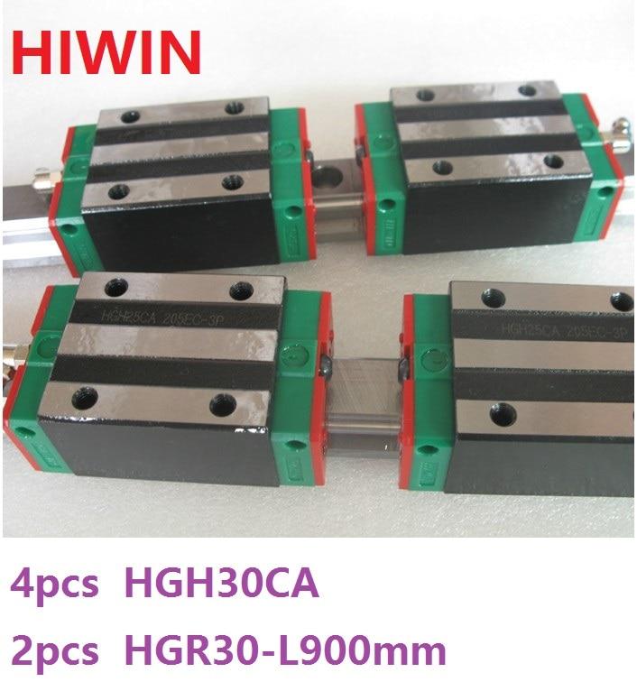 купить 2pcs 100% original Hiwin linear rail linear guide HGR30 -L 900mm + 4pcs HGH30CA linear narrow block for cnc router по цене 20195.26 рублей