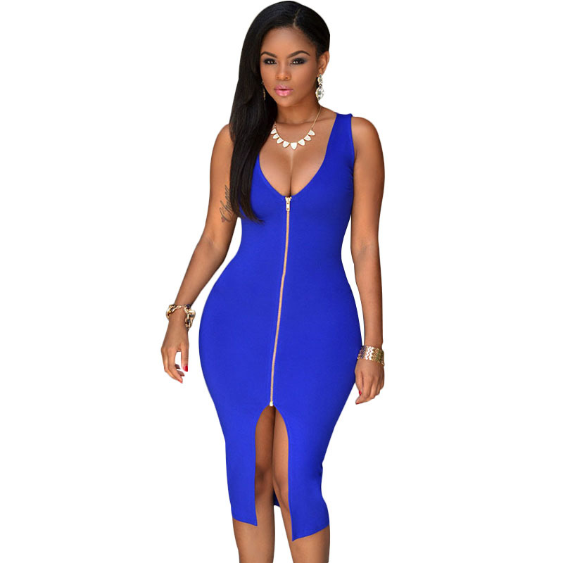 394aa0264 2016 New Style Royal Blue Zip Front Dress Women Bodycon V-neck Split Sexy  Club Dress Lady Midi Sexy Dress Summer Style Dresses