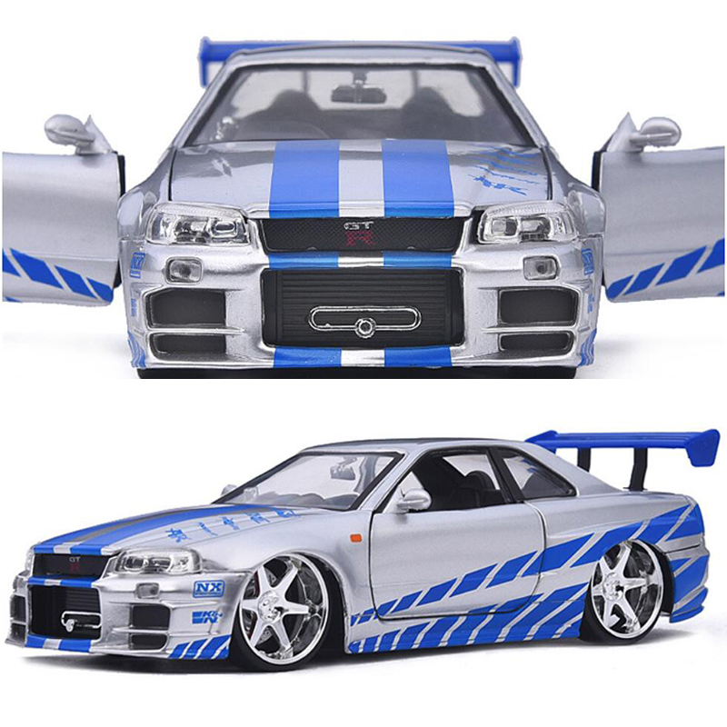20.5CM 1:24 Scale Metal Alloy 2002 NISSAN GTR R34 Fast and Furious Racing Car Model Diecast Vehicles Toys F Children Collection