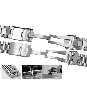 Image 3 - Браслет из нержавеющей стали для часов, спортивный сменный металлический ремешок с плоской застежкой, двойная кнопка, 20 мм