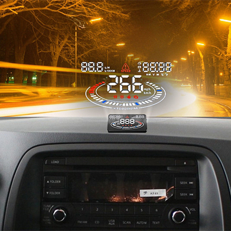 Universal Car HUD Head Up Display OBDII OBD2 Interface E300 Speedometer Overspeed Fatigue Driving Alarm 5.5 Digital Car-styling