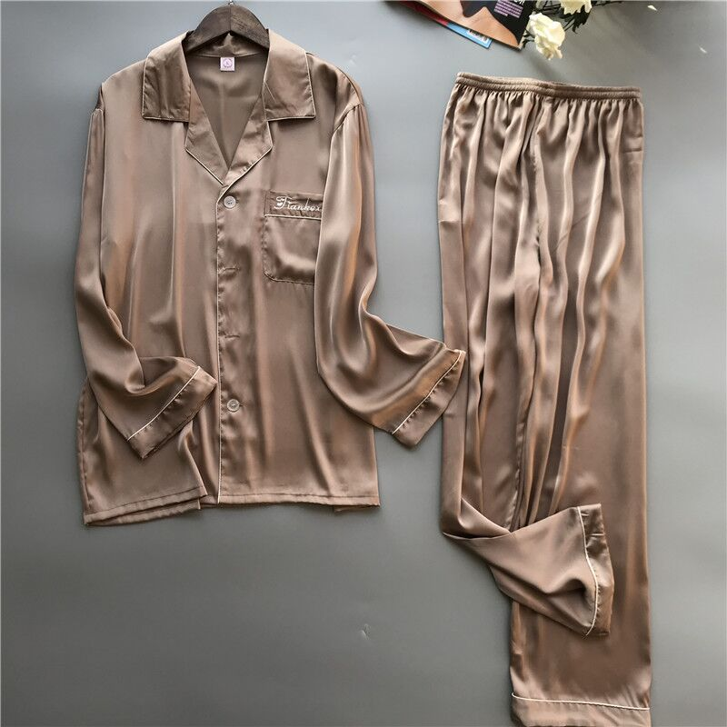 2019 Men's Stain Silk   Pajama     Set   Men   Pajamas   Silk Sleepwear Soft Pyjamas Male Long Sleeve Homewear For Summer Nightwear