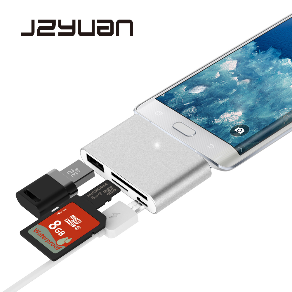 JZYuan All in 1 USB Type-C Card Reader to USB 2.0 Micro USB SD TF Memory Card OTG Hub Mini Converter Adapter Card Reader Hub seenda all in 1 usb 3 0 type c metal card reader high speed sd tf micro sd card reader micro usb multi memory otg card reader