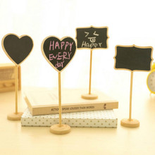 Wood Crafts Mini Heart Shaped Chalkboard Leave a Message Place Card Holder Table Number for Wedding Decor Event Party Supplies(China)