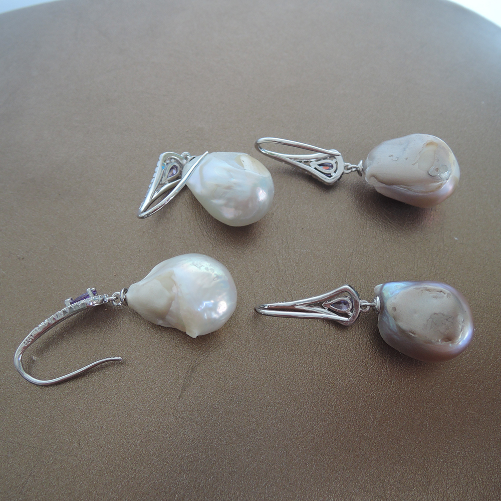 100 nature freshwater pearl earring with 925 silver hook 13 25 mm big baroque pearl earring IN GOLD AND SILVER COLOR in Drop Earrings from Jewelry Accessories