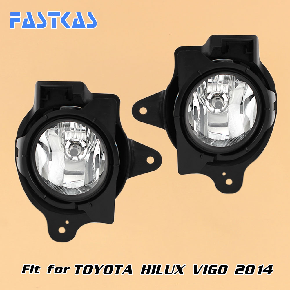 12v Car Fog Light Assembly for Toyota Hilux Vigo 2014 Front Left and Right set Fog Light Lamp with Harness Relay 2 pcs set car styling front bumper light fog lamps for toyota venza 2009 10 11 12 13 14 81210 06052 left right