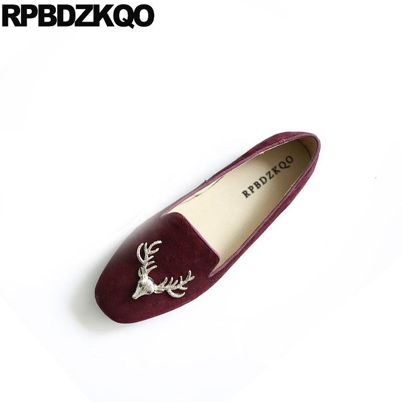 Дизайнерская итальянская замшевая обувь из натуральной кожи красного вина 2018, китайские с плоской подошвой, металлическим круглым носком,