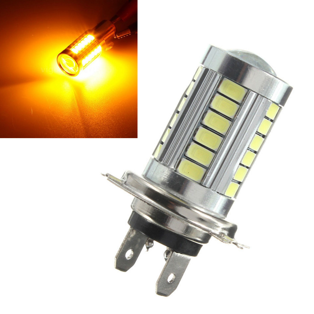 H7 Yellow Amber Orange 33SMD 33 SMD LED For Car Fog Light Driving Bulbs DRL Lamp DC 12V 24V car cob led h7 bulb fog light parking lamp bulbs driving foglight 7 5w drl 2pcs amber yellow white red ice blue